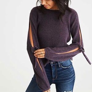 American Eagle Open Tie-Sleeve Sweater Purple XS